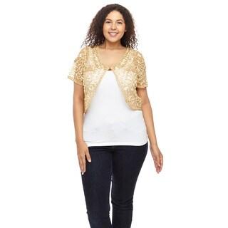 Hadari Women's Plus Size Long Sleeve Round Neck Sweater (Option: Gold)