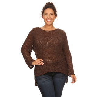 Hadari Women's Plus Size Long Sleeve Round Neck Sweater (2 options available)