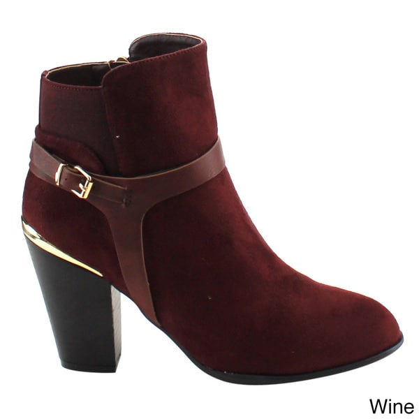 Wine Faux Leather Booties Zipper Block 5.5 inch Heels Womens Ankle Boots