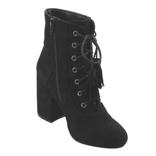 Nature Breeze Women's Black Faux-leather Lace-up Ankle Bootie with Tassles