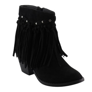 Nature Breeze Women's FD94 Fringe Studded Ankle High Chunky Block Heel Booties
