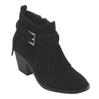Nature Breeze Fe02 Women's Fringes Buckle Strap Mid-high Block Heel Ankle Bootie