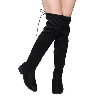 Beston FD97 Women's Stretchy Over the Knee Block Heel Dress Boot Half Size Small