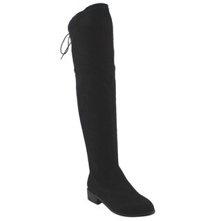 Beston FD97 Women's Stretchy Over The Knee Block Heel Dress Boot