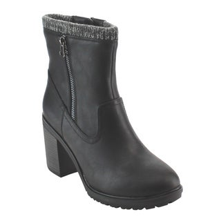 Nature Breeze FE00 Women's Knit-cuff Dual-zipper Stacked-block Heel Ankle Bootie