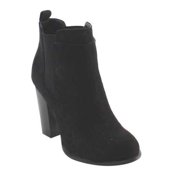 23896a70febd Nature Breeze Women  x27 s Black Elastic Side Panel High Block Heel Ankle  Bootie