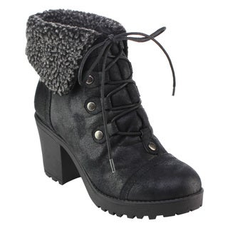 DBDK AD51 Women's Lace-up Collar Chunky Heel Ankle Combat Booties