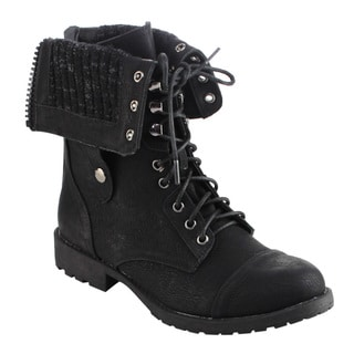 DBDK Women's Black Faux-leather Foldable Combat Booties