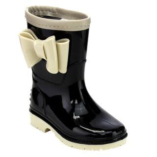 Jelly Beans GD98 Girl's Knotbow Deco Lug Sole Low-heel Mid-calf Rain Boots