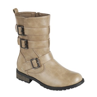 FOREVER GE31 Women's Faux-leather Mid-calf Multiple Buckles and Straps Lug-sole Combat Boots