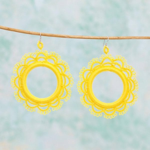 Handmade Cotton Sterling Silver 'Yellow Sun' Earrings (Mexico)
