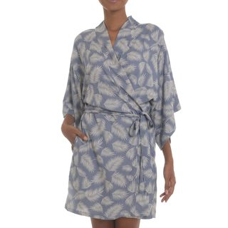 Handcrafted Rayon 'Windy Beach in Cadet Blue' Short Batik Robe (Indonesia)