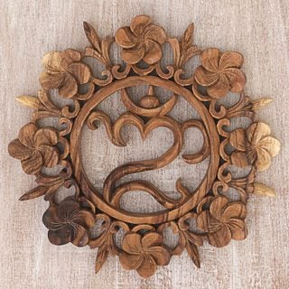 Handmade Suar Wood 'Blossoming Omkara' Wall Relief (Indonesia)