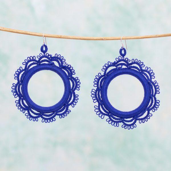 Handmade Cotton Sterling Silver 'Azul Sun' Earrings (Mexico)