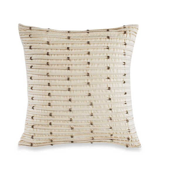 Brielle Beige Polyester Square Droplets Throw Pillow