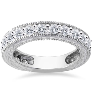 14k White Gold 1 5/8ct TDW Lab Grown Eco Friendly Diamond Vintage Wedding Rin (F-G,SI1-SI2)