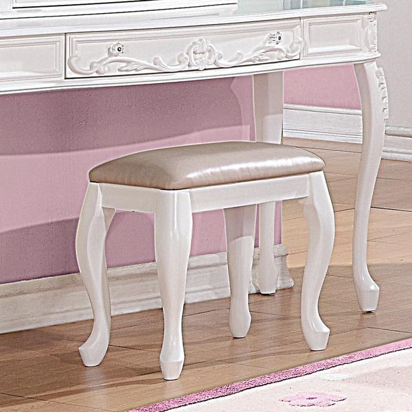 Coaster Company White Cushioned Vanity Stool