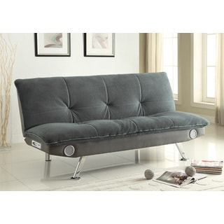 Coaster Company Velvet/ Leatherette Sofa Bed with Bluetooth Speakers