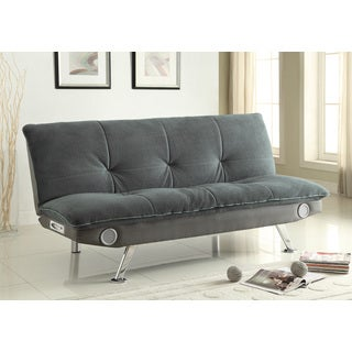 Grey Velvet/ Leatherette Sofa Bed with Bluetooth Speakers