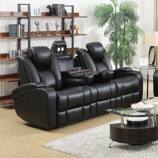 Bon Coaster Company Black Leatherette Power Recliner Motion Sofa