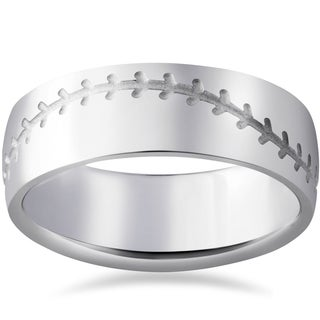 14K White Gold 8mm Mens Baseball Stich Comfort Fit Wedding Band