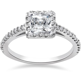 14k White Gold 1ct TDW Princess Cut Pave Halo Diamond Engagement Ring
