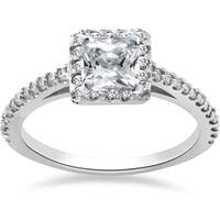 14k White Gold 1ct TDW Princess Cut Pave Halo Diamond Engagement Ring