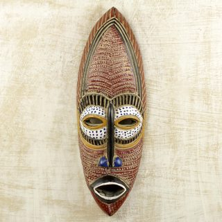 Handcrafted Sese Wood 'Adamma' African Mask (Ghana)