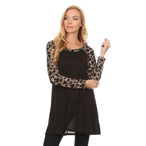 Women's Animal Pattern Sleeve Tunic Top