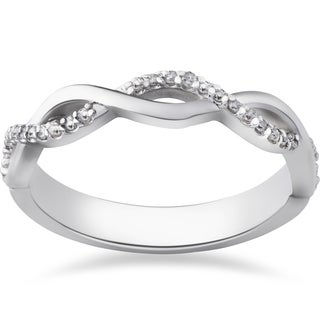 10k White Gold 1/8ct TDW Diamond Infinity Wedding Ring