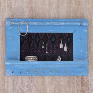 Handcrafted Jempinis Wood Cotton 'Tegalalang Heritage in Sky' Jewelry Display Wall Panel (Indonesia)
