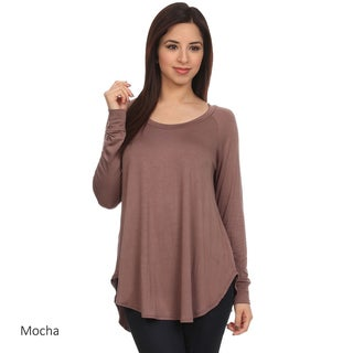 Women's Rayon/Spandex Solid Knit Scoop Neck Tunic