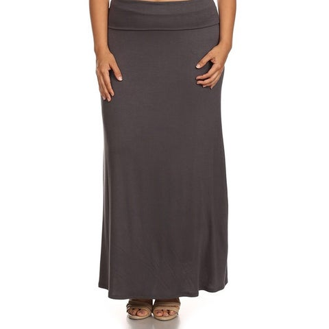 Rayon/Spandex Plus-size Solid Maxi Skirt