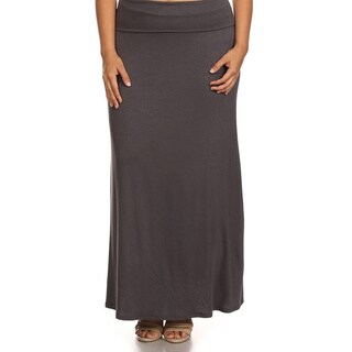 Rayon/Spandex Plus-size Solid Maxi Skirt (Option: White)