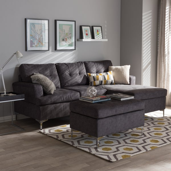 Baxton Studio Haemon Modern and Contemporary Grey Fabric Upholstered 3-Piece Sectional Sofa with Ottoman : sectional modern - Sectionals, Sofas & Couches