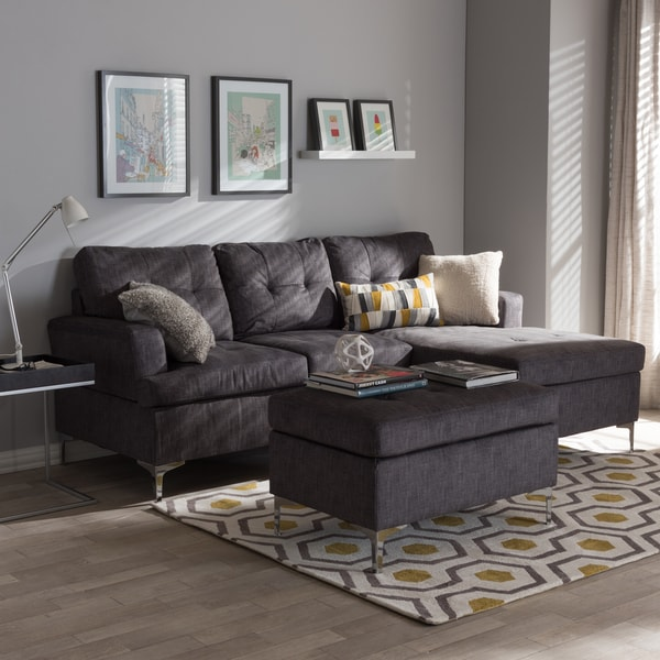 Baxton Studio Haemon Modern And Contemporary Grey Fabric Upholstered  3 Piece Sectional Sofa With Ottoman