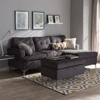 Baxton Studio Haemon Modern and Contemporary Grey Fabric Upholstered 3-Piece Sectional Sofa with Ottoman Set