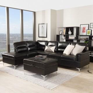 Baxton Studio Hagne Modern Black Faux Leather Sectional Storage Ottoman Set