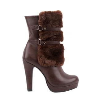Olivia Miller Women's Nevins Black/Brown Polyester/Polyurethane/Synthetic High-heel Booties