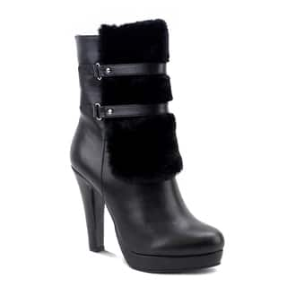 Olivia Miller Women's Nevins Black/Brown Polyester/Polyurethane/Synthetic High-heel Booties|https://ak1.ostkcdn.com/images/products/12539251/P19342432.jpg?impolicy=medium