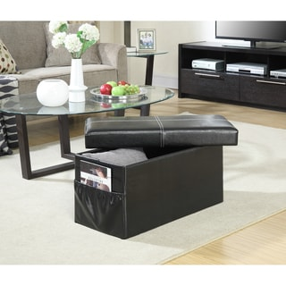 Convenience Concepts 'Designs4Comfort' Black/Espresso/Brown Faux-leather Double-collapsible Ottoman