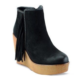 Olivia Miller Women's Burke Black/Brown Faux Suede Fringe Wedge Booties