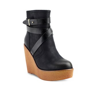 Olivia Miller Women's Pelham Black/Brown Faux Suede Multi-strap Wedge Booties