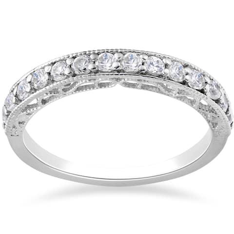 14k White Gold 1/2ct TDW Lab Grown Eco Friendly Diamond Vivian Vintage Wedding Ring