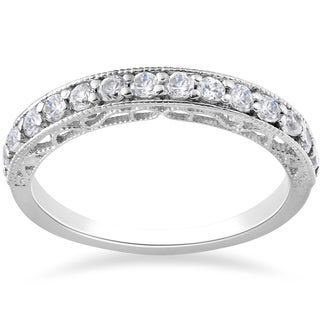 14k White Gold 1/2ct TDW Lab Grown Eco Friendly Diamond Vivian Vintage Wedding Ring