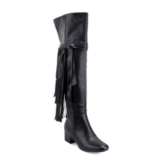Olivia Miller 'Jackson' Black Over-the-knee Boots with Fringe