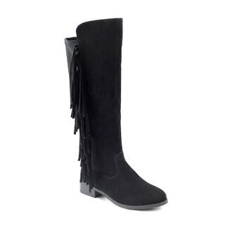 Olivia Miller 'Corona' Black Polyurethane/Polyester Side-fringe Riding Boots