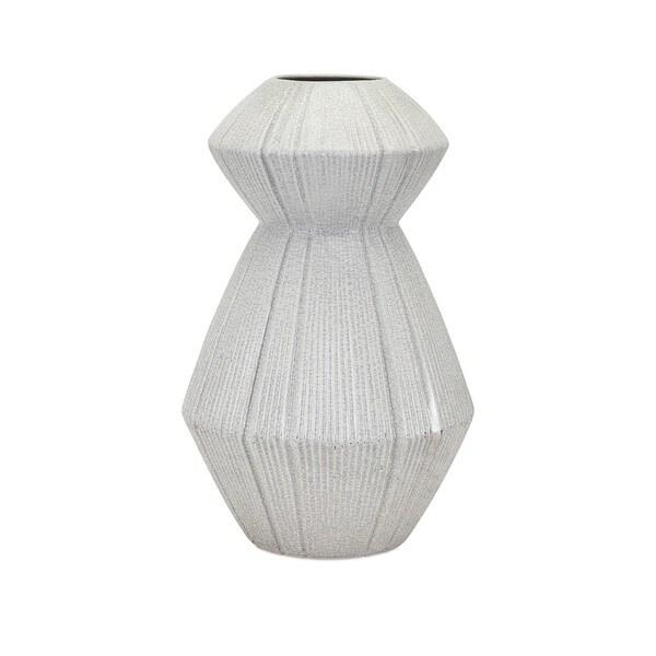 White and Grey Ceramic Takoda Vase