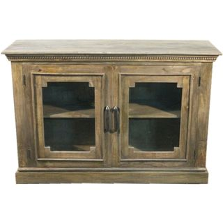 Y-Decor Solid Wood Decorative Sideboard Cabinet with Wide Glass Paneled Doors