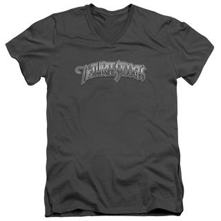 Three Stooges/Metallic Logo Short Sleeve Adult T-Shirt V-Neck in Charcoal